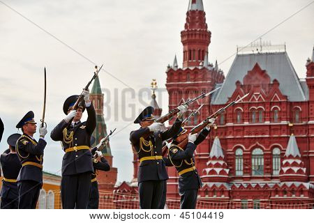 MOSCOW - MAY 27: Performance of cadets of Presidential Regiment on Red Square during 8-th sports forum GTO, May 27, 2012, Moscow, Russia.