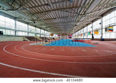 MOSCOW - MAY 13: Indoor athletics arena at stadium named Brothers Znamensky, May 13, 2012, Moscow, Russia. Stadium founded in 1961 in honor of famous brothers-athletes Seraphim and  Georgy Znamensky.