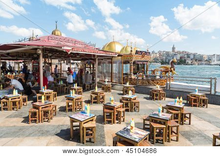 ISTANBUL - JUL 3: Small stylized cafe on the waterfront in Istanbul on July 3, 2012 in Istanbul, Turkey.