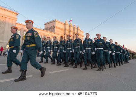 SAMARA - MAY 5: Soldiers marching on parade rehearsal before the Day of Victory in the Great Patriotic War on May 5, 2012 in Samara, Russia.