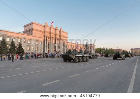 SAMARA - MAY 5: Armoured personnel carrier on parade rehearsal before the Day of Victory in the Great Patriotic War on May 5, 2012 in Samara, Russia.