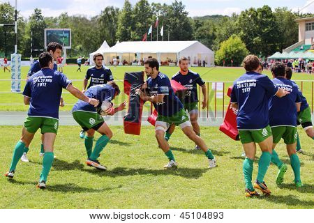 MOSCOW - JUNE 30: Workout of team from Portugal at second stage of European championship on rugby-7 in sports complex Luzhniki, on June 30, 2012 in Moscow, Russia.
