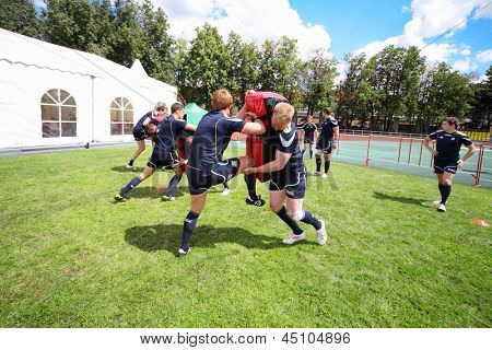 MOSCOW - JUNE 30: Scottish teams training at second stage of European championship on rugby-7 in sports complex Luzhniki, on June 30, 2012 in Moscow, Russia.