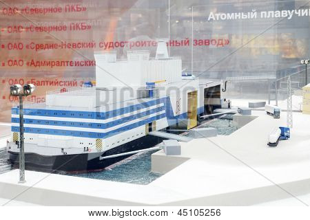 MOSCOW - MAY 23: Model of nuclear floating power at Russia Marine Industry Conference 2012 in Gostiny Dvor, on May 23, 2012 in Moscow, Russia.