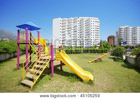 ALANYA - JULY 5: Playground in My Marine Residence, on July 5, 2012 in Alanya, Turkey. Total area of residental complex My Marine Residence is 45 000 square meters.
