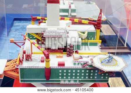 MOSCOW - MAY 23: Model of sea oil base at Russia Marine Industry Conference 2012 in Gostiny Dvor, on May 23, 2012 in Moscow, Russia.