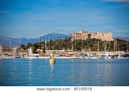 Antibes Harbor, France, With Yachts And Fort Carre