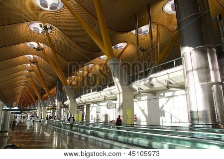 MADRID, SPAIN - FEBRUARY 6: The new T4 Terminal at Barajas airport on February 6, 2013 in Madrid, Spain. Madrid-Barajas is Europes fourth busiest airport serving over 49 million passengers per year.
