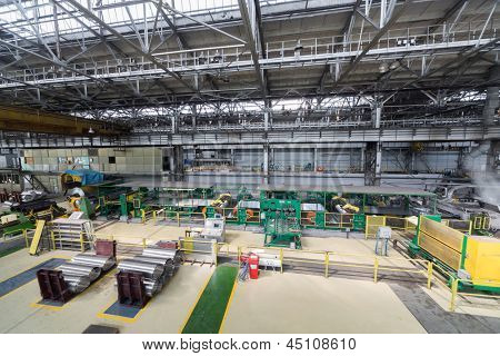 Part of production shop with special equipment for aluminum rolling