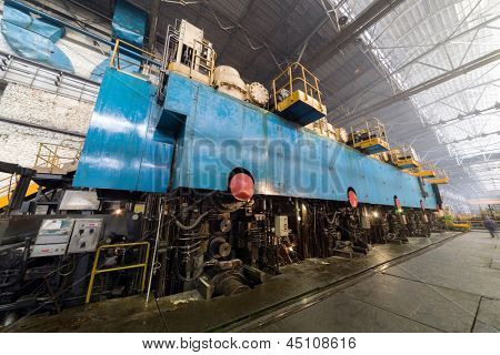 Press machine of rolling mill in in the manufacturing shop floor plant
