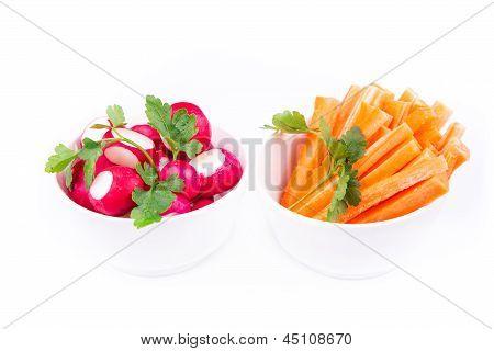 Fresh juicy carrot adn radish ready to eat