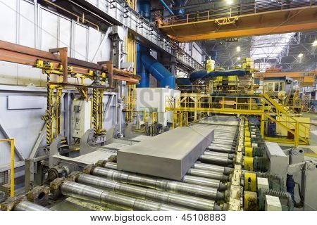 Block of aluminum platten pressing machine of rolling mill.