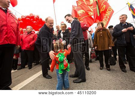 MOSCOW - MAY 1: Gennady Zyuganov (left)(is a Russian politician, First Secretary of the Communist Party of the Russian Federation) during procession of May Day on May 1, 2013 in Moscow, Russia.