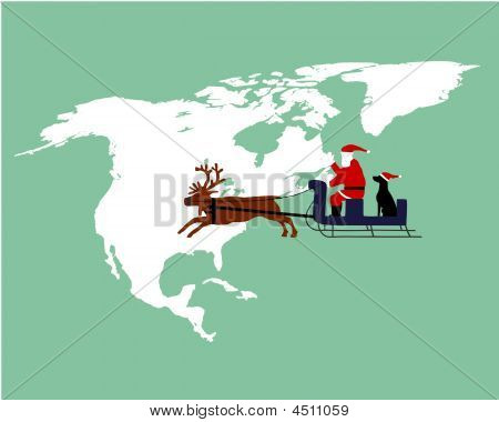 Santa Claus And Dog Riding On Their Reindeer Sleigh High Above Northamerica