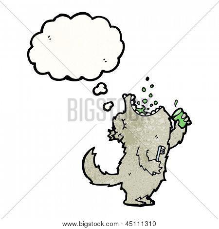 cartoon wolf gargling mouthwash