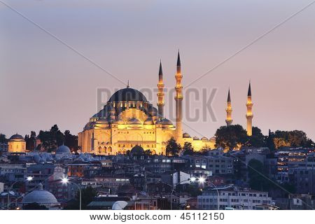 Suleymaniye Mosque in Istanbul, Turkey. Mosque was built in 550-1557. Dome height 53 m, diameter 26.5 m.