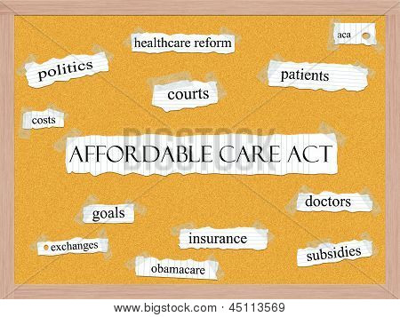 Affordable Care Act Corkboard Word Concept