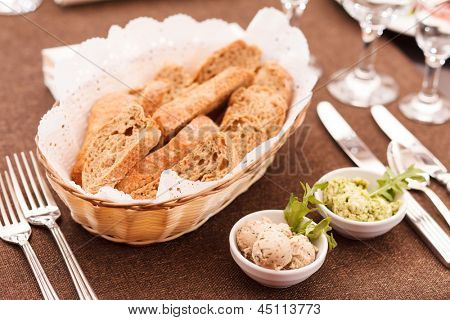 fresh crusty bread in a basket