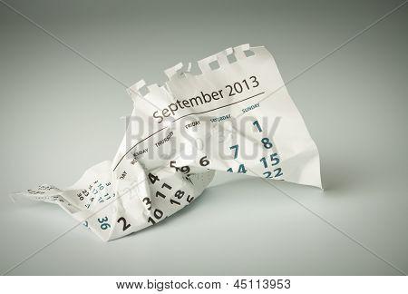 September. Crumpled Calendar Sheet
