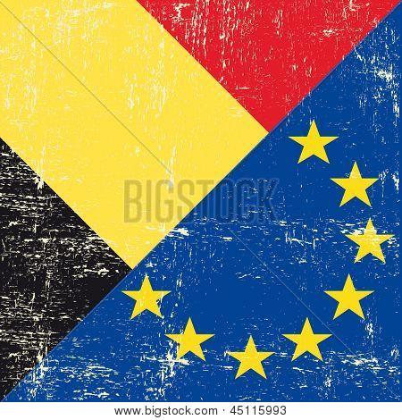 Belgian and european grunge Flag. flag of european union members