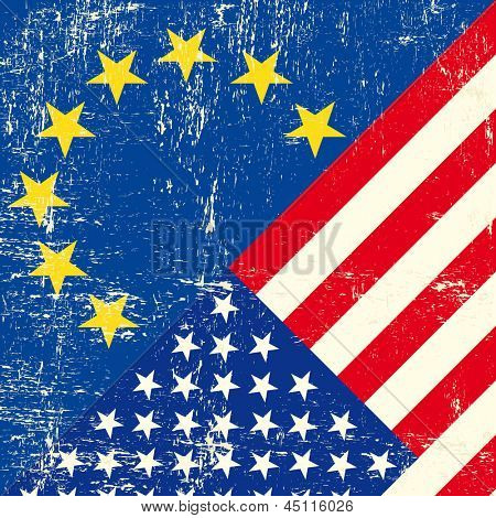 US and european grunge Flag. this flag represents the relationship  between european union and the usa