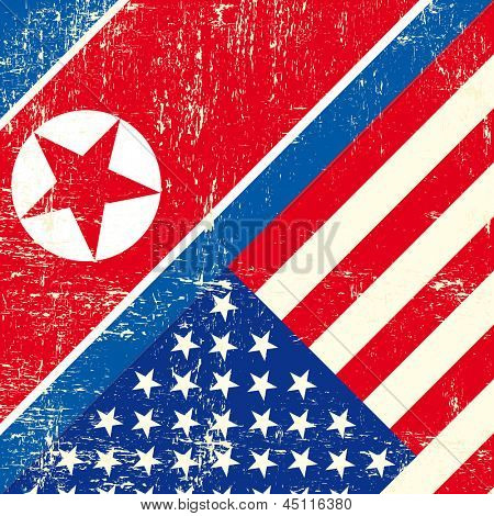 USA and North Korean grunge Flag. this flag represents the relationship  between North  Korea and the USA