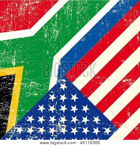 USA and south african grunge Flag. this flag represents the relationship  between South africa and the USA