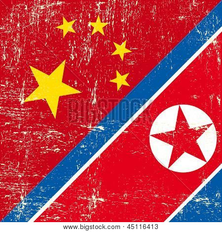 Chinese and North Korean grunge flag. this flag represents the relationships  between North Korea and China