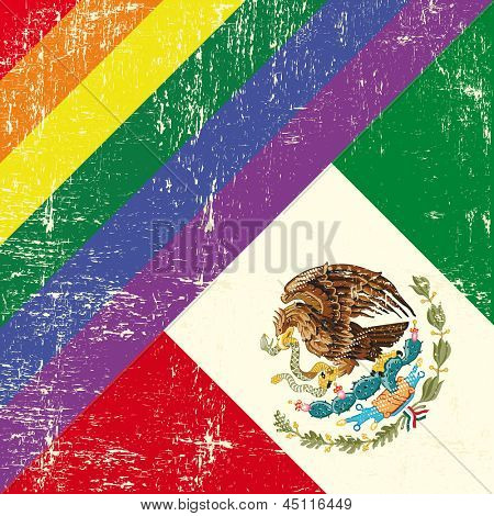 Mexican and gay grunge Flag. Mixed grunge gay flag with mexican flag.
