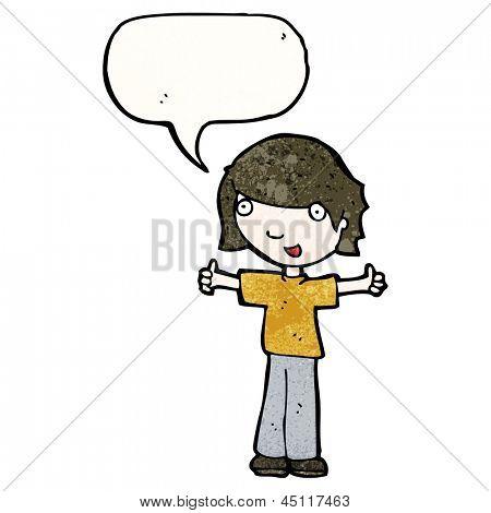 menino de desenhos animados, dando thumbs up gesto