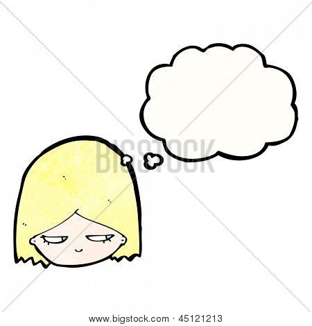 annoyed blond girl with thought bubble