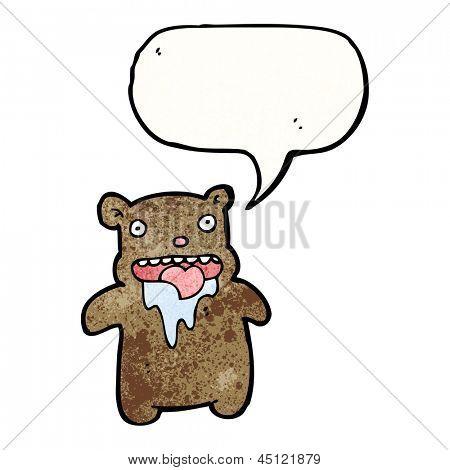 cartoon drooling bear