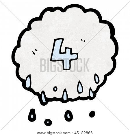cartoon raincloud with number 4