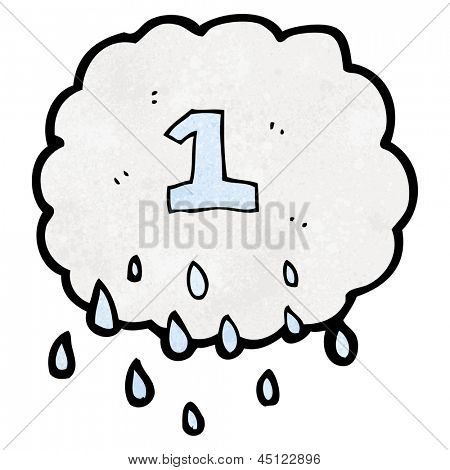 cartoon raincloud with number one