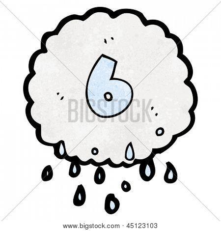 cartoon raincloud with number six