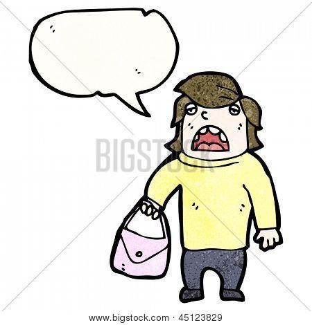 cartoon man holding handbag