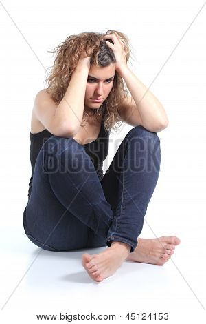 Portrait Of A Full Body Of A Girl Worried With Both Hands On The Head