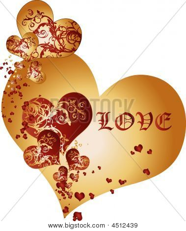 Golden And Crimson Hearts Background Vector