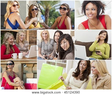 Montage of happy beautiful women, friends, shopping, using laptop computers, listening to music and talking on the phone, enjoying a modern lifestyle.