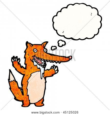 drooling hungry fox cartoon