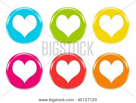 Colorful icons with hearts