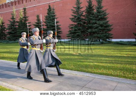 Soldiers Of A Guard Of Honour On Red Square On A March