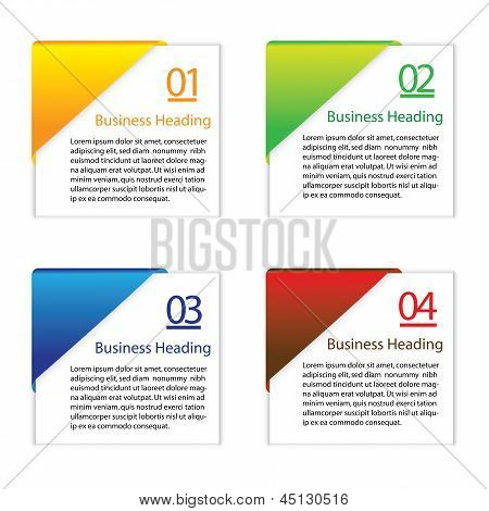 3D Vector Illustration Of Colorful Blank Or Empty Info Cards