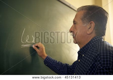 People And Education, Law Teacher Writing On Blackboard In College