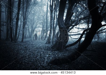 Strange man walking in a dark spooky forest on halloween