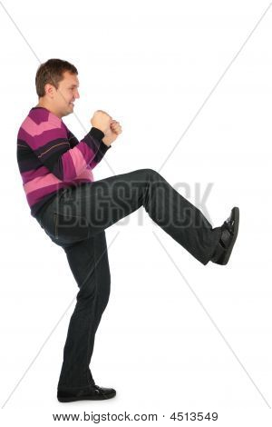Man Kicks By Leg