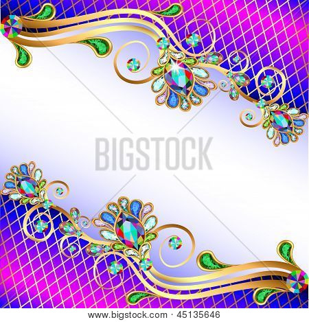 Background With Precious Stones, Gold Pattern And The Grid