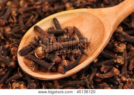 Cloves (spice) And Wooden Spoon Close-up Food Background