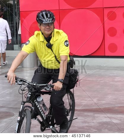 A Security person riding his bicycle in Las Vegas