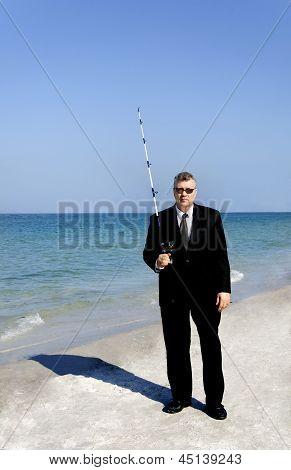 Business Man Going Fishing